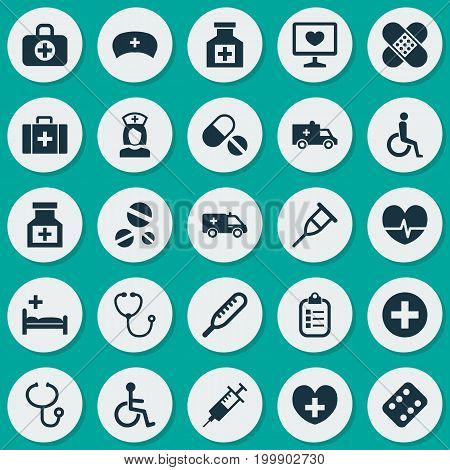 Antibiotic Icons Set. Collection Of Rhythm, Disabled, Drug And Other Elements