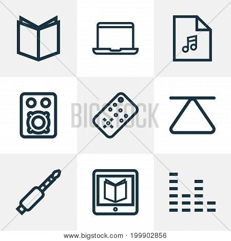 Multimedia Outline Icons Set. Collection Of E-Reader, Controller, Eject And Other Elements