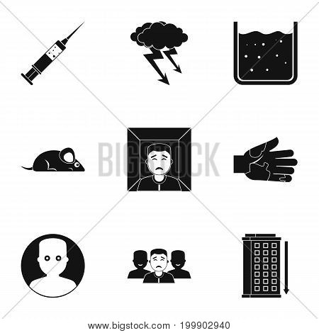 Fears and phobias icon set. Simple style set of 9 fears and phobias vector icons for web isolated on white background