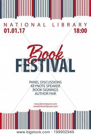 Poster Book Festival. Stack Of Books. Vector Illustration.