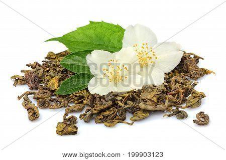 Fresh green tea with Jasmine isolated on white background.