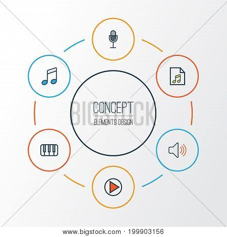 Music Colorful Outline Icons Set. Collection Of Keys, Sound, Play And Other Elements