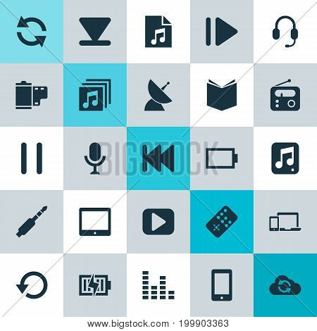 Multimedia Icons Set. Collection Of Palmtop, Energy, Satellite And Other Elements
