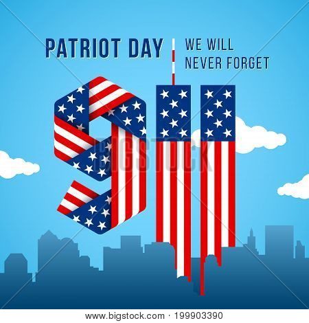 USA 9.11 Patriot Day greeting card. Digits made of ribbons with American flag's stars and stripes. Vector remembrance illustration.