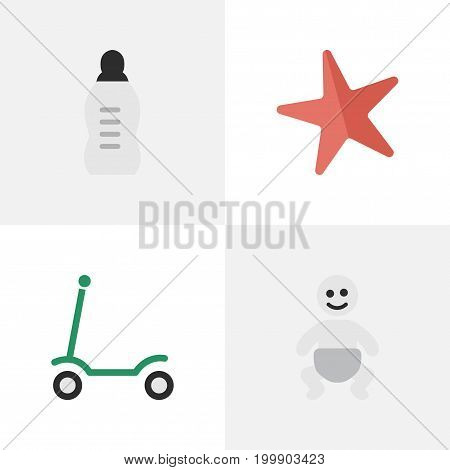 Elements Kick, Toy, Child And Other Synonyms Children, Child And Milk.  Vector Illustration Set Of Simple Kid Icons.