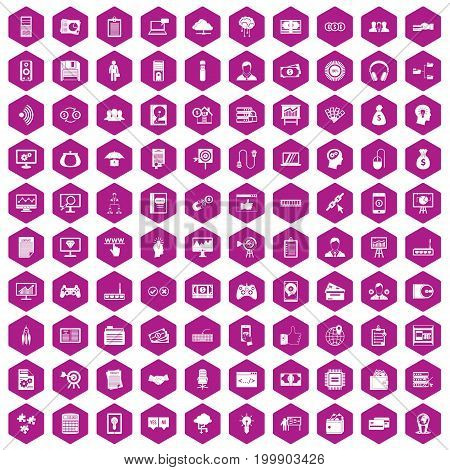 100 IT business icons set in violet hexagon isolated vector illustration