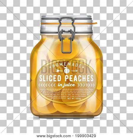 Vector Labeled Swing Top Bale Glass Jar Filled With Sliced Peaches In Juice. Realistic Mockup Illust