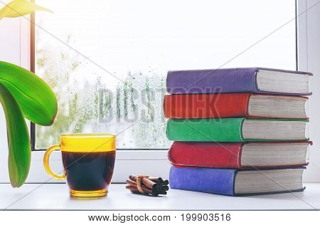 Cup of hot coffee with cinnamon and a stack of books on the windowsill. Outside the window the rain. Home interior.