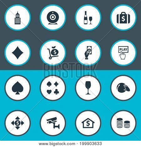 Elements House, Dollar Swap, Alcohol And Other Synonyms Drink, Start And Web.  Vector Illustration Set Of Simple Gambling Icons.