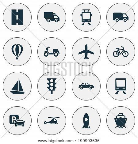 Transportation Icons Set. Collection Of Bicycle, Railway, Yacht And Other Elements