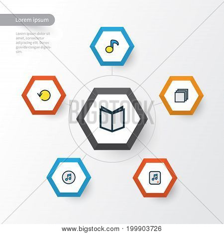 Media Colorful Outline Icons Set. Collection Of Group, Quaver, File And Other Elements