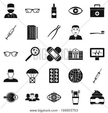 Medical student icons set. Simple set of 25 medical student vector icons for web isolated on white background