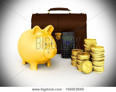 Family Budget Piggy Bank Briefcase 3D Rendering On Gray Background