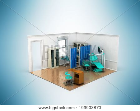 Isometric Dentist Office Blue 3D Rendering On Blue Background