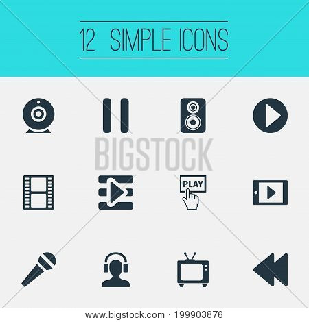 Elements Stop, Filmstrip, Playlist And Other Synonyms Karaoke, Pointer And Stop.  Vector Illustration Set Of Simple  Icons.