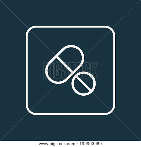 Premium Quality Isolated Tablets Element In Trendy Style.  Medicines Outline Symbol.