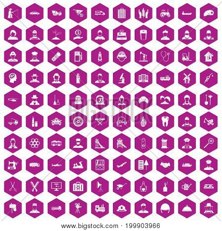 100 job icons set in violet hexagon isolated vector illustration
