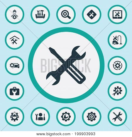 Elements Toolbox, Rotate, Staff And Other Synonyms Car, Search And Detail.  Vector Illustration Set Of Simple Mending Icons.