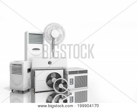 Air Conditioning Equipment 3D Rensder On White Background