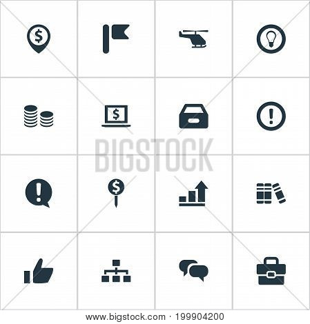 Elements Bookshelf, Dossier, Monitor And Other Synonyms Graph, Suitcase And Help.  Vector Illustration Set Of Simple Trade Icons.