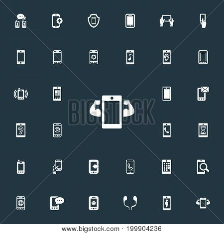 Elements Touchscreen, Sms, Ring Up And Other Synonyms Internet, User And Mail.  Vector Illustration Set Of Simple Smartphone Icons.
