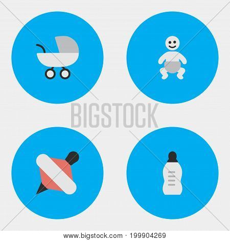 Elements Stroller, Vial, Child And Other Synonyms Yule, Child And Milk.  Vector Illustration Set Of Simple Baby Icons.
