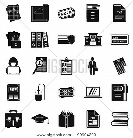 Writing icons set. Simple set of 25 writing vector icons for web isolated on white background