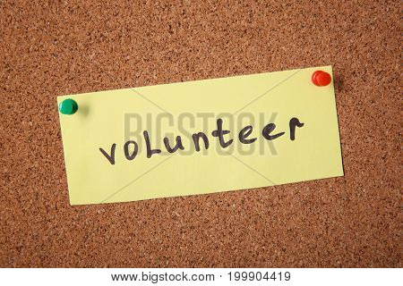 Sheet of paper with word VOLUNTEER pinned to  cork board