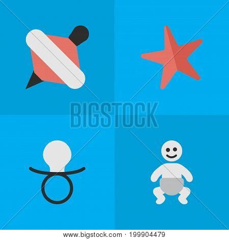 Elements Toy, Nipple, Child And Other Synonyms Starfish, Nipple And Yule.  Vector Illustration Set Of Simple Kid Icons.