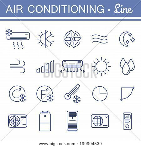 Set of air conditioning vector icons for your design. Air conditioner and air compressor images. Collection of linear colling icons. Thin icons for print, web, mobile apps design. Editable stroke.