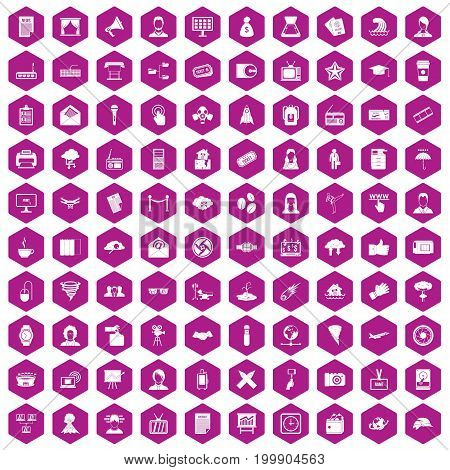 100 journalist icons set in violet hexagon isolated vector illustration