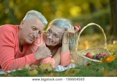 Happy senior couple lying  in autumn park