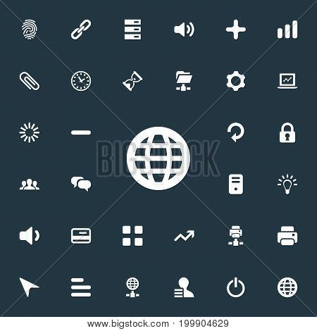 Elements Payment, Light, Chatting And Other Synonyms Hour, Fastener And Hyperlink.  Vector Illustration Set Of Simple Practice Icons.