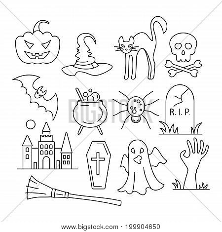 Halloween icons. Design element for Halloween. Vector illustration in flat style for your design. Editable stroke.