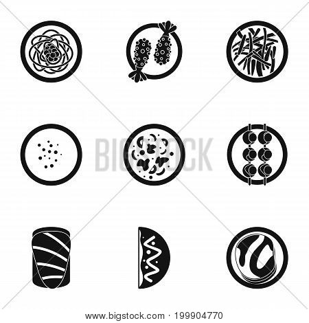 Delicious japanese food icons set. Simple set of 9 delicious japanese food vector icons for web isolated on white background