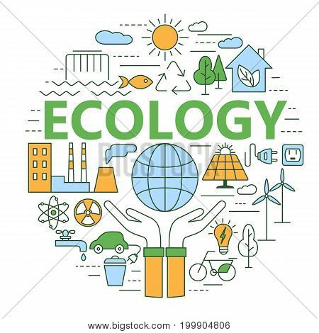 Ecology and environment concept illustration, thin line flat design. Modern thin line icons set of ecology, sustainable technology, renewable energy, recycling, nature, protection of flora and fauna.