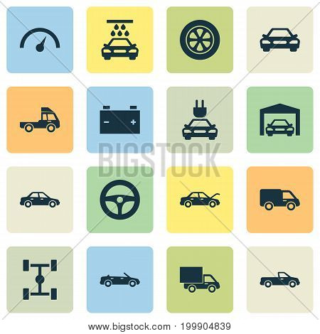 Automobile Icons Set. Collection Of Lorry, Fixing, Chronometer And Other Elements