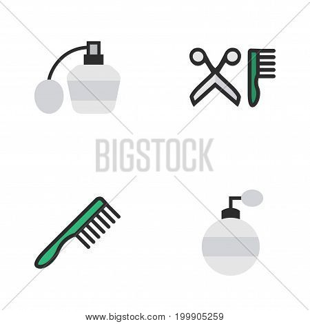 Elements Fragrance, Comb, Perfume And Other Synonyms Hairbrush, Comb And Scissors.  Vector Illustration Set Of Simple Shop Icons.