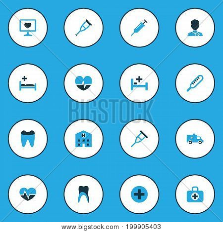 Drug Colorful Icons Set. Collection Of Bed, Medical Data, Physician And Other Elements