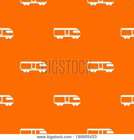 Swiss mountain train pattern repeat seamless in orange color for any design. Vector geometric illustration