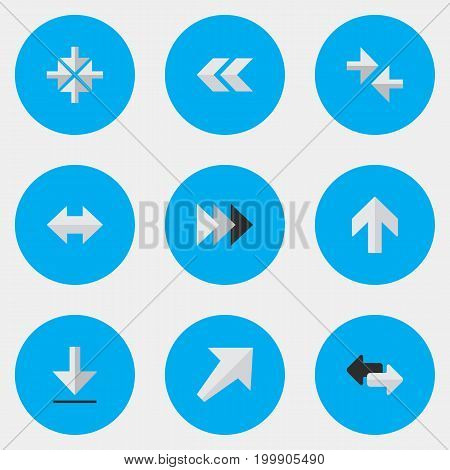 Elements Upwards, Loading, Inside And Other Synonyms Inwardly, Alert And Back.  Vector Illustration Set Of Simple Cursor Icons.