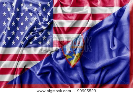 Ruffled waving United States of America and Guam flag