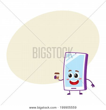 Funny cartoon mobile phone, smartphone character holding paper coffee cup, vector illustration with space for text. Happy cartoon mobile phone, smartphone character with morning coffee cup