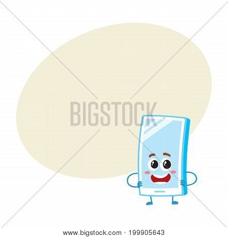 Funny cartoon mobile phone, smartphone character with shiny screen standing arms akimbo, vector illustration with space for text. Funny cartoon mobile phone, smartphone character arms akimbo