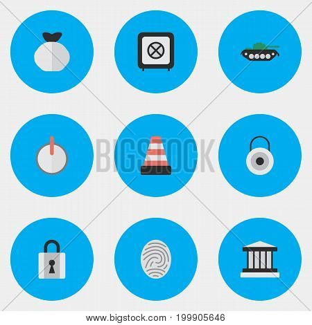 Elements Lock, Safe, Military And Other Synonyms Tank, Sack And Grille.  Vector Illustration Set Of Simple Offense Icons.