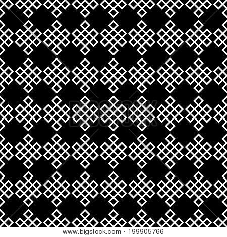 Seamless pattern of the endless knot or eternal knot. Black and white ethnic background. Vector illustration.