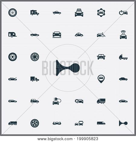 Elements Charging, Traffic, Renovation And Other Synonyms Traffic, Oval And Caravan.  Vector Illustration Set Of Simple Auto Icons.