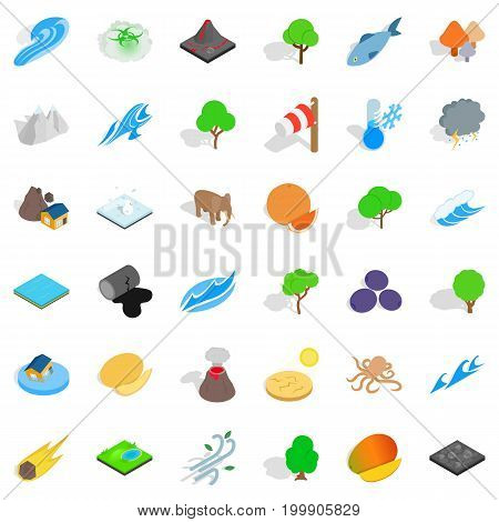 Earth icons set. Isometric style of 36 earth vector icons for web isolated on white background