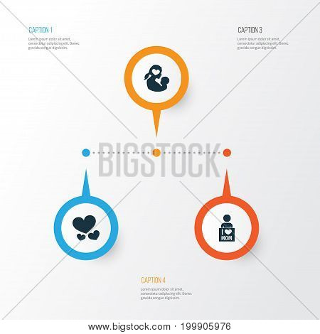 Mothers Day Icon Design Concept. Set Of 3 Such Elements As Missus, Heart And I Love Mom