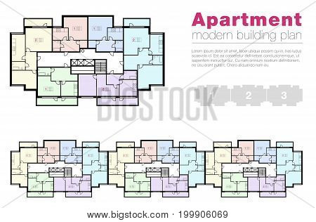 Architectural apartment project. dwelling building vector floor plan